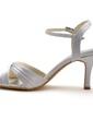 Women's Satin Stiletto Heel Sandals With Buckle (047039720)