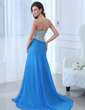 A-Line/Princess Sweetheart Sweep Train Chiffon Evening Dress With Beading Split Front (017017388)