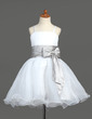 A-Line/Princess Knee-length Flower Girl Dress - Organza/Charmeuse Sleeveless With Sash/Bow(s)/Rhinestone (010005774)