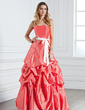 A-Line/Princess Sweetheart Floor-Length Taffeta Bridesmaid Dress With Ruffle Sash Bow(s) (007001811)