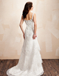 A-Line/Princess Sweetheart Court Train Satin Wedding Dress With Lace Beading (002000223)