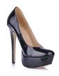 Women's Patent Leather Stiletto Heel Pumps Platform Closed Toe shoes (085020589)