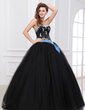 Ball-Gown Sweetheart Floor-Length Tulle Quinceanera Dress With Sash Beading Appliques Lace (021017438)