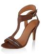 Leatherette Spool Heel Sandals With Zipper shoes (087033614)