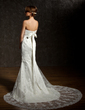Trumpet/Mermaid Sweetheart Chapel Train Satin Wedding Dress With Beading Sequins Bow(s) (002004783)