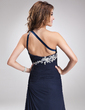 A-Line/Princess One-Shoulder Sweep Train Chiffon Evening Dress With Beading Appliques Lace (017016875)