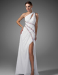 A-Line/Princess One-Shoulder Sweep Train Chiffon Prom Dress With Ruffle Beading Split Front (018005081)