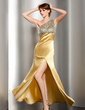 Trumpet/Mermaid One-Shoulder Floor-Length Charmeuse Prom Dress With Ruffle Beading Split Front (018014505)