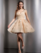 A-Line/Princess One-Shoulder Short/Mini Tulle Homecoming Dress With Ruffle Beading Flower(s) (022020672)