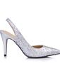 Women's Leatherette Sparkling Glitter Cone Heel Closed Toe Pumps Slingbacks (047026435)