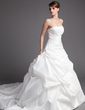 Ball-Gown Sweetheart Chapel Train Taffeta Wedding Dress With Ruffle Bow(s) (002001319)