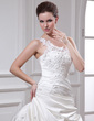 Ball-Gown One-Shoulder Chapel Train Satin Wedding Dress With Ruffle Beading Appliques Lace Flower(s) (002012104)