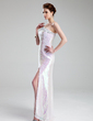 Sheath/Column One-Shoulder Floor-Length Charmeuse Sequined Prom Dress With Beading Split Front (018018875)