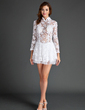 A-Line/Princess High Neck Short/Mini Lace Cocktail Dress With Ruffle (016015591)