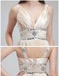 A-Line/Princess V-neck Floor-Length Charmeuse Evening Dress With Beading Pleated (017018813)