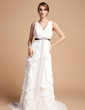 A-Line/Princess V-neck Sweep Train Chiffon Wedding Dress With Sash Beading Appliques Lace Bow(s) Cascading Ruffles Pleated (002012069)