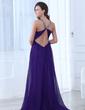 A-Line/Princess V-neck Floor-Length Chiffon Evening Dress With Ruffle Beading (017017396)