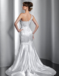 Trumpet/Mermaid One-Shoulder Court Train Charmeuse Wedding Dress With Lace Beading (002014803)