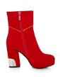 Süet Kalın Topuk Platform Ayak bileği Boots Ile Yapay elmas ayakkabı (088056342)