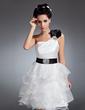 Linia A/Księżniczka Jednoramienna Do Kolan Organza Satin Sukienka na Zjazd Absolwentów (022015066)