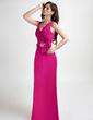 A-Line/Princess V-neck Floor-Length Chiffon Bridesmaid Dress With Ruffle Beading Flower(s) (008015809)