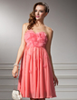 Empire Sweetheart Knee-Length Chiffon Homecoming Dress With Ruffle Beading Flower(s) (022008961)