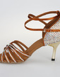 Women's Satin Sandals Pumps Latin With Rhinestone Ankle Strap Buckle Dance Shoes (053026919)