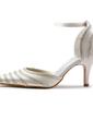Vrouwen Satijn Stiletto Heel Closed Toe Pumps met Buckle Bergkristal (047005367)