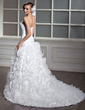 Ball-Gown One-Shoulder Chapel Train Organza Wedding Dress With Flower(s) Cascading Ruffles (002012798)