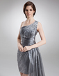 Sheath/Column One-Shoulder Asymmetrical Organza Prom Dress With Ruffle Beading (018020956)