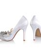 Women's Silk Like Satin Cone Heel Closed Toe Pumps With Rhinestone (047026748)