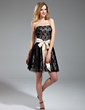 A-Line/Princess Strapless Short/Mini Lace Homecoming Dress With Sash Bow(s) (022019602)