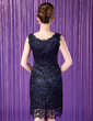 Sheath/Column Scoop Neck Knee-Length Lace Mother of the Bride Dress (008005757)