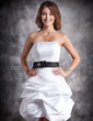 Sheath/Column Strapless Short/Mini Satin Homecoming Dress With Ruffle Sash Beading (022020613)