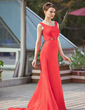 Trumpet/Mermaid Scoop Neck Court Train Chiffon Mother of the Bride Dress With Ruffle Beading (008018968)
