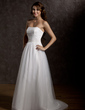 A-Line/Princess Strapless Court Train Tulle Wedding Dress With Ruffle Beading (002011762)