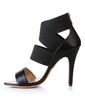 Leatherette Cone Heel Peep Toe Sandals With Zipper (085026449)