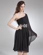 Çan/Prenses Tek-Omuzlu Diz Hizası Şifon Kokteyl Elbisesi Ile Büzgü Boncuk (016008400)