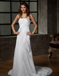 A-Line/Princess One-Shoulder Court Train Chiffon Wedding Dress With Ruffle Beading (002011968)