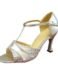 Women's Leatherette Sparkling Glitter Heels Sandals Latin Wedding Party With T-Strap Dance Shoes (053013135)