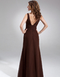 A-Line/Princess V-neck Floor-Length Chiffon Bridesmaid Dress With Ruffle (007001889)
