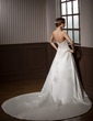 Ball-Gown Sweetheart Cathedral Train Satin Wedding Dress With Lace Beading (002000254)