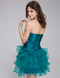 A-Line/Princess Sweetheart Short/Mini Charmeuse Organza Homecoming Dress With Beading Cascading Ruffles (022027069)