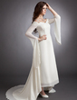 A-Line/Princess Off-the-Shoulder Asymmetrical Chiffon Prom Dress With Beading (018016247)