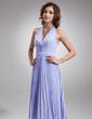 A-linjainen/Prinsessa Niskalenkillä Polvipituinen Sifonki Morsiusneitojen mekko jossa Helmikuvoinnit Laskostettu (007001067)