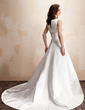 A-Line/Princess V-neck Chapel Train Satin Wedding Dress With Beading (002000072)
