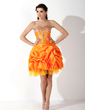 A-Line/Princess Sweetheart Knee-Length Taffeta Homecoming Dress With Ruffle Beading Flower(s) (022009669)