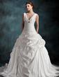 A-Linie/Princess-Linie V-Ausschnitt Kapelle-schleppe Taft Brautkleid mit Rüschen Perlen verziert Blumen (002001265)