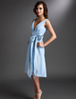 A-Line/Princess V-neck Knee-Length Chiffon Bridesmaid Dress With Ruffle Sash Bow(s) (007000842)