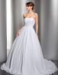 Balo Elbisesi Kalp Kesimli Şapel Kuyruk Chiffon Gelinlik Ile Büzgü Boncuklama Aplike (002012694)